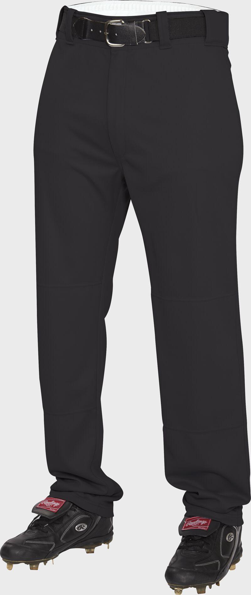 Front of Rawlings Black Adult Semi-Relaxed Pant - SKU #BP31SR