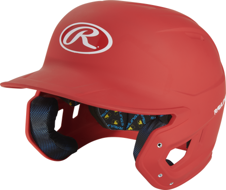 Angle view of a scarlet MCH07A Mach Alpha High School/College batting helmet