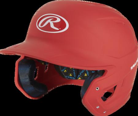 Angle view of a scarlet MCH07A Mach Alpha High School/College batting helmet