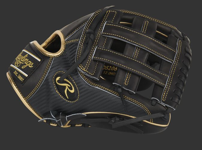 Black thumb of an exclusive Pro Preferred 12-Inch Hyper Shell glove with a black H-web - SKU: PROS206-6BCF