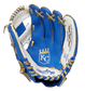 A blue/white Rawlings Kansas City Royals youth glove with the Royals logo stamped in the palm - SKU: 22000026111 image number null