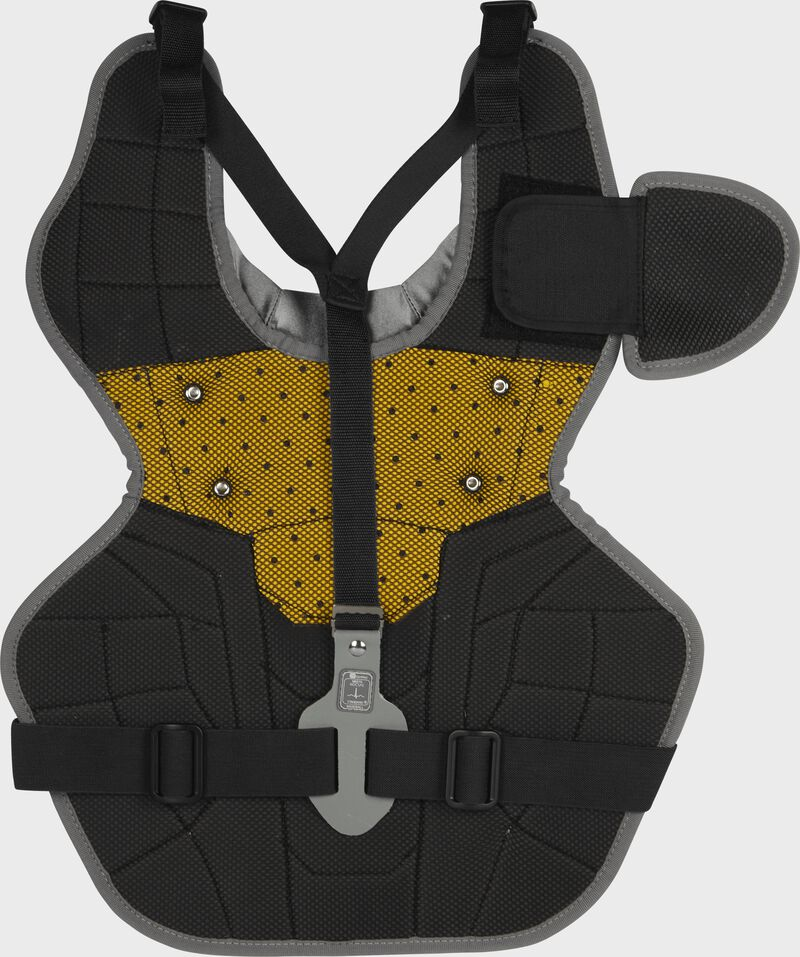 Back of a black RCSNA adult Rawlings Renegade 2.0 chest protector