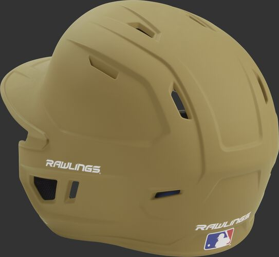 Back left view of a matte Vegas gold MACH series batting helmet with air vents