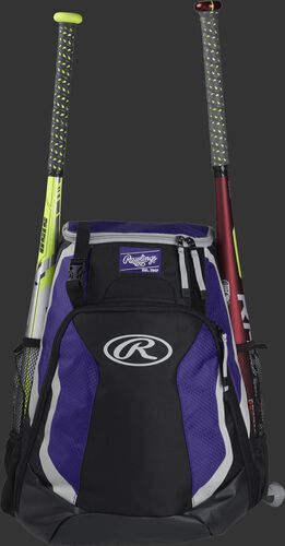 A black/purple R500 Rawlings equipment backpack with a bat on each side