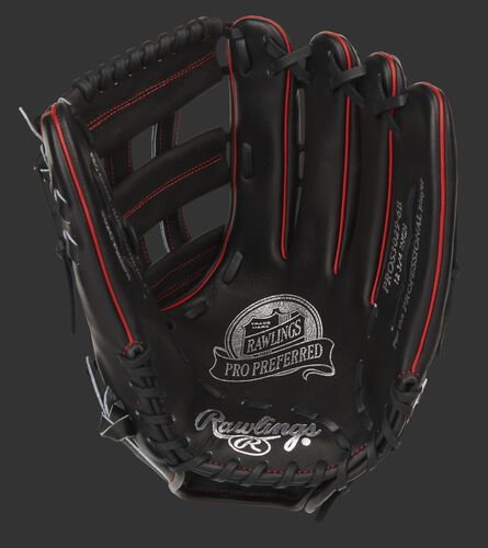 Black palm of a Pro Preferred 12.75-Inch outfield glove with silver stamping and black laces - SKU: PROS3029-6B