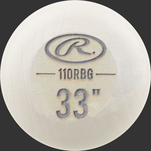 "White wash knob of a Rawlings Big Stick Elite Birch bat with an engraved Oval-R and 33"" size - SKU: 110RBG"