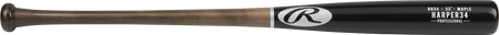 BH34PL Bryce Harper Maple wood bat with a black barrel and brown handle