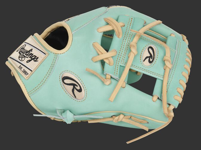 Ocean mint thumb of an exclusive Pro Preferred Zebra Knit infield glove with an ocean mint I-web - SKU: PROS204-2OMZ
