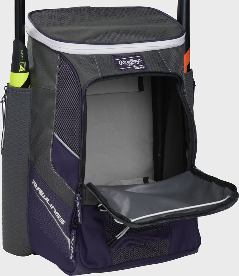 Front of a purple Rawlings Impulse backpack with the main compartment open - SKU: IMPLSE-PU