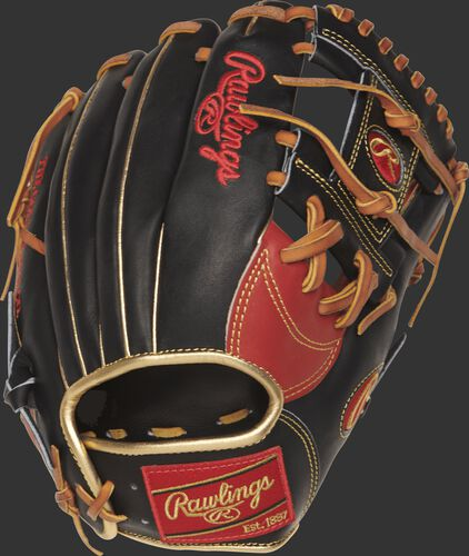 PRONP4-2SBG 11.5-inch Heart of the Hide I web glove with a black back and gold binding and welting