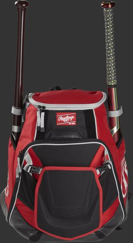 A scarlet VELOBK Velo backpack with a bat in each of the side compartments