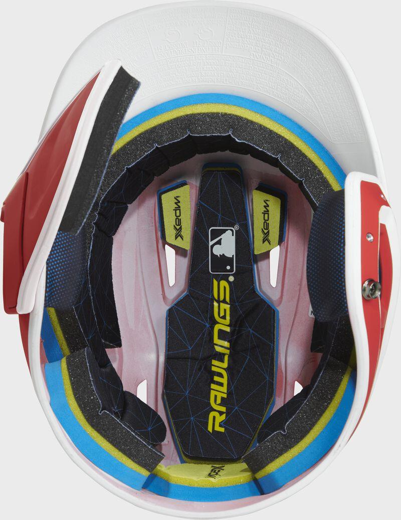 Inside of a MACHEXTR Rawlings MACH baseball helmet with IMPAX durable foam padding