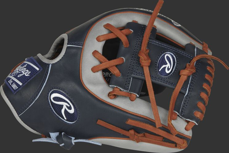 Rawlings PROR314-2NG Heart of the Hide R2G infield glove with a navy/grey thumb and a navy I web