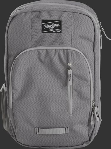 Front of a gray R700C coach's backpack with gray zippers and a black Rawlings patch