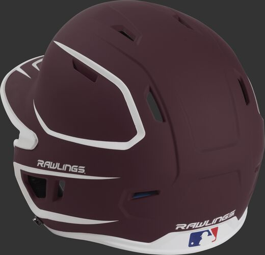 Back left view of a matte maroon/white MACH series batting helmet with air vents