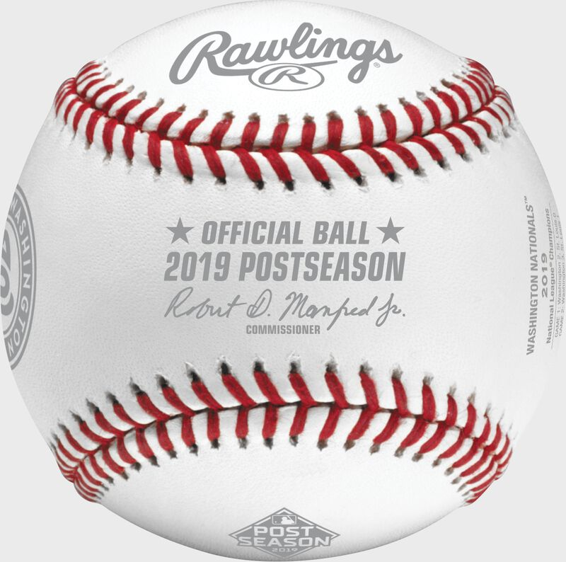Front of a NLCS19CHMP 2019 Washington Nationals National League Champions baseball with the Official Baseball of MLB stamp