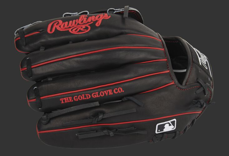 Black back of a Rawlings Pro Preferred outfield glove with the MLB logo on the pinkie - SKU: PROS3029-6B