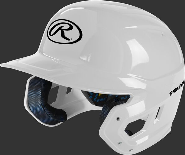 Left angle view of a white MCH01A Mach high school/college batting helmet