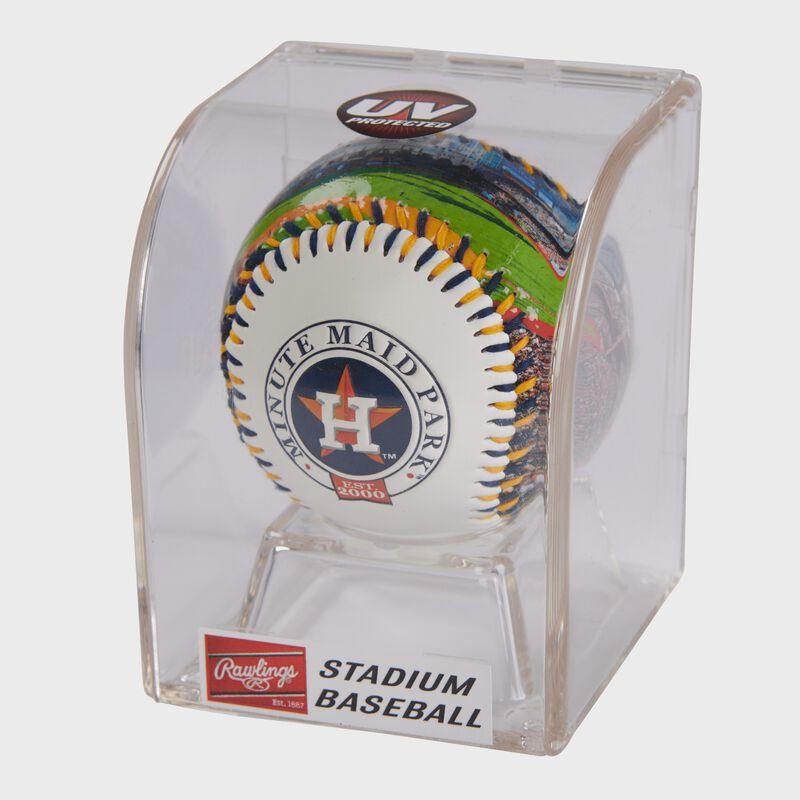 MLB Houston Astros stadium baseball in a display case