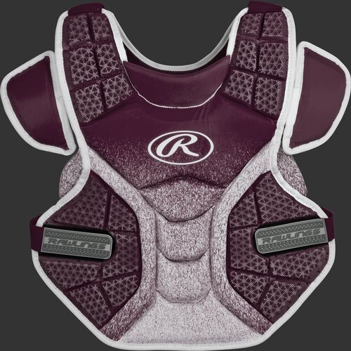 Front of a maroon/white SBCPV Velo adult softball chest protector