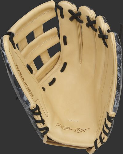 Camel palm of a Rawlings REV1X outfield glove with black laces - SKU: REV3039-6