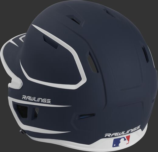 Back left view of a matte navy/white MACH series batting helmet with air vents