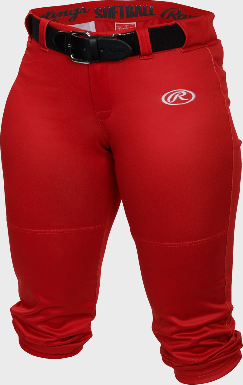 WLNCH scarlet Women's launch softball pants with a black belt