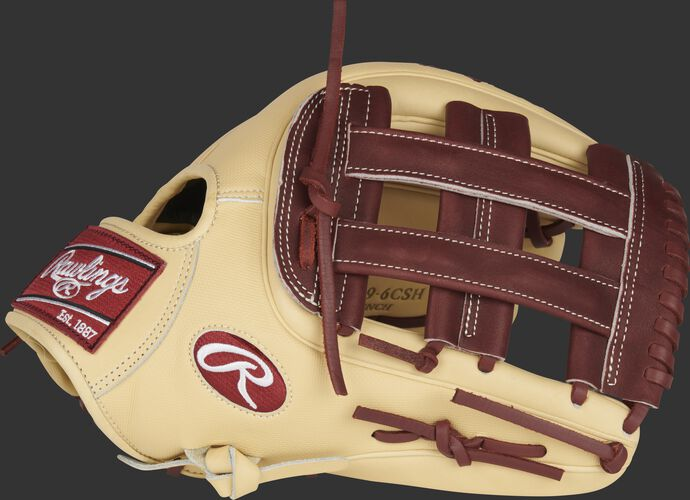 Thumb of a camel Heart of the Hide ColorSync 5.0 12.75-Inch outfield glove with a dark sherry H-web - SKU: PRO3319-6CSH