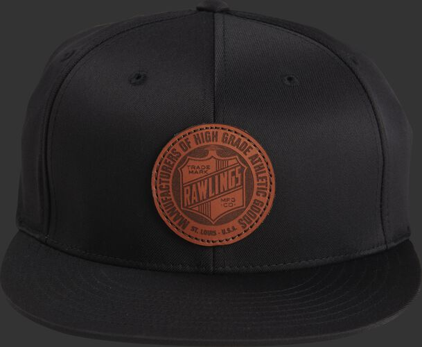Front of a black RWLPH Rawlings fitted black hat with a leather logo