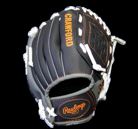 Back of a black MLBPA 9-inch Brandon Crawford player glove