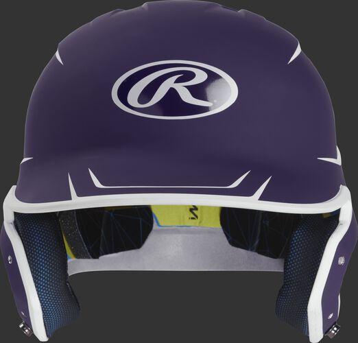 Front of a matte purple/white MACH Junior size batting helmet