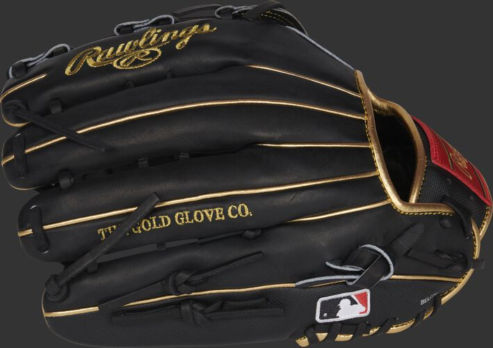 Black back of a Rawlings  Ender Inciarte outfield glove with the MLB logo on the pinky - SKU: RSGPRO3039-EI11