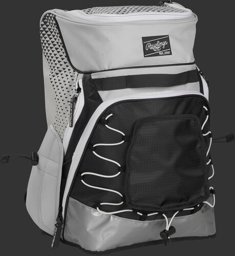 Front right of a white/black R800 softball backpack