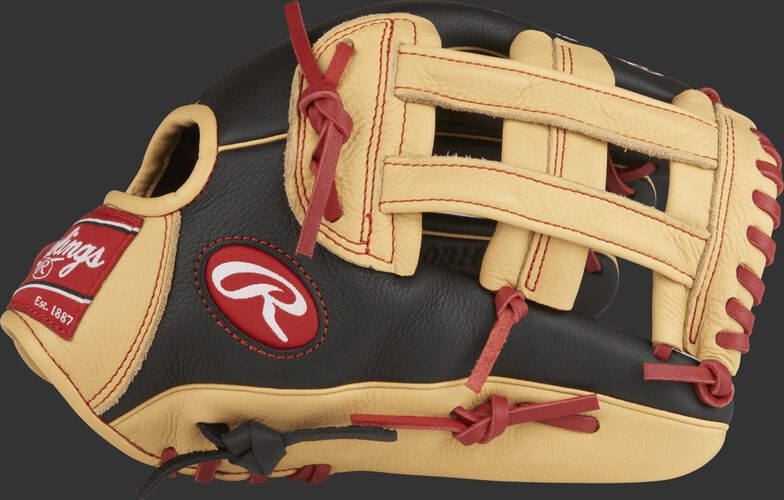 Thumb view of a SPL120BH 12-inch Select Pro Lite Bryce Harper youth outfield glove with a black/camel thumb and camel H web