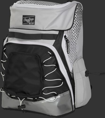 Front left of a white/black R800 softball backpack