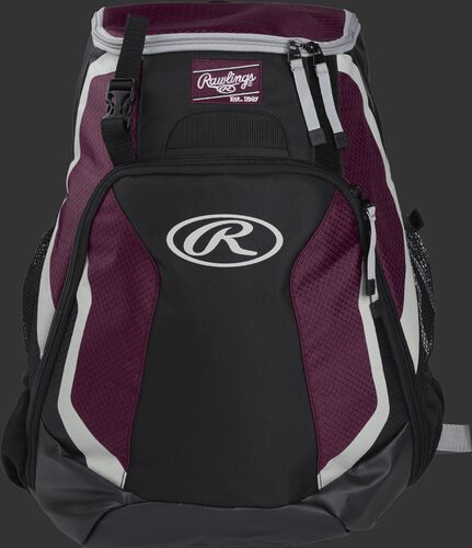 Front of a black/maroon R500 Rawlings Players team backpack with a Rawlings patch and white Oval R