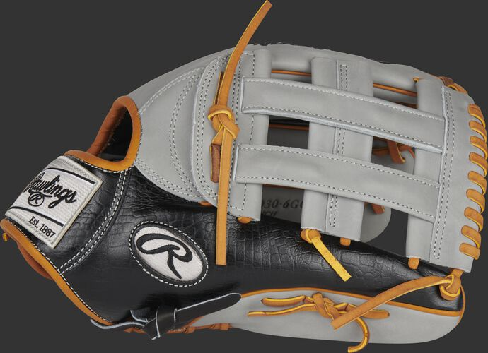Thumb of a black/gray Heart of the Hide ColorSync 5.0 13-Inch outfield glove with a gray H-web - SKU: PRO3030-6GC