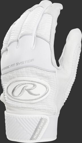 A white WH950BG-W adult Workhorse batting glove