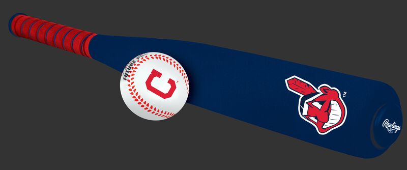Side of Rawlings Cleveland Indians Foam Bat and Ball Set in Team Colors With Team Name and Logo On Front SKU #01860014111