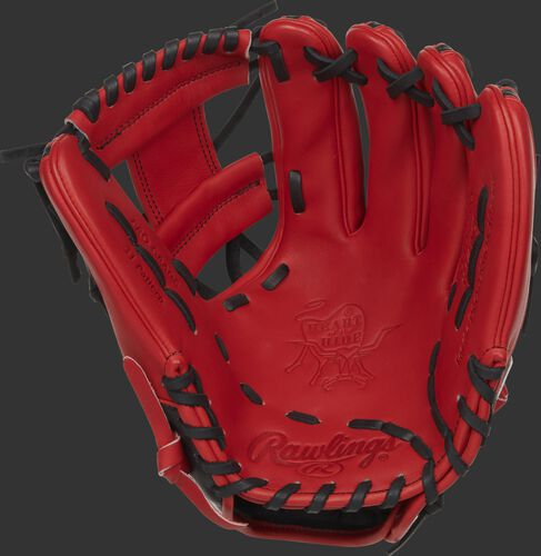 PRO315-2SSS Rawlings HOH Speed Shell infield glove with a scarlet palm, black laces and scarlet web