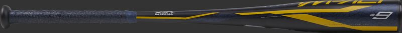 USZI9 Rawlings -9 Impact bat with a navy barrel and navy grip