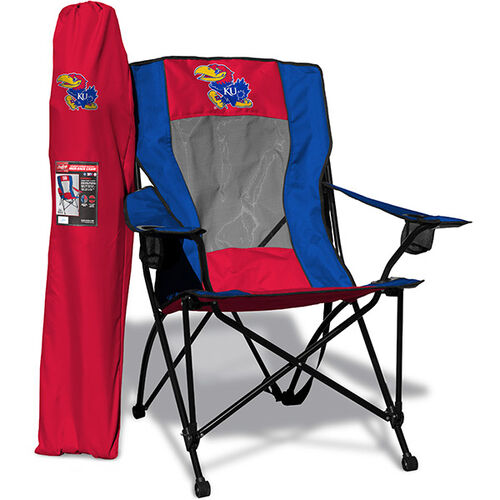 Front of Rawlings Red and Blue NCAA Kansas Jayhawks High Back Chair With Team Logo SKU #09403034518