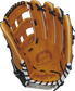 Palm view of a PROS3039-6TN 12.75-inch Rawlings baseball glove with a rich tan palm and navy laces image number null