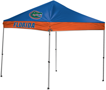 A 9x9 NCAA Florida Gators canopy shelter in team colors with the team logo printed on top
