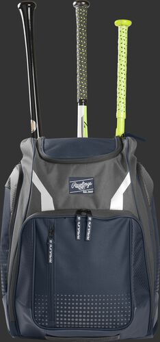 Front view of a navy Rawlings Legion baseball backpack with 3 bats in the back - SKU: LEGION-N