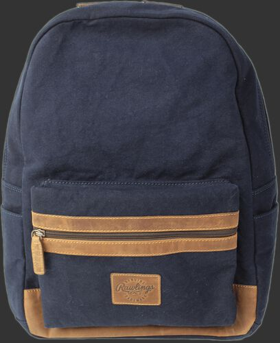 Front of a navy V164-400 Canvas Collection backpack with a brown label and brown zipper on the front pocket