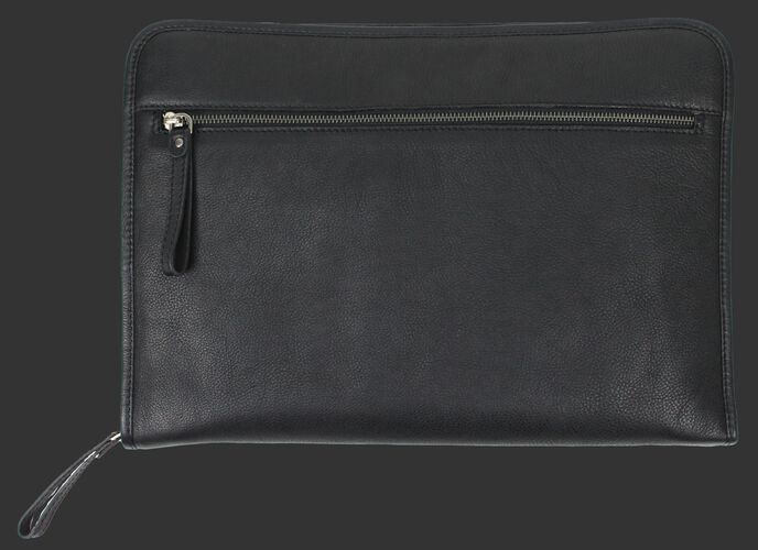 Back of a black Rawlings rugged portfolio with a zippered compartment - SKU: V614-001