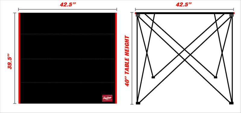 An image with the dimensions for the Dallas Cowboys bar height tailgate table - SKU: 10051065511