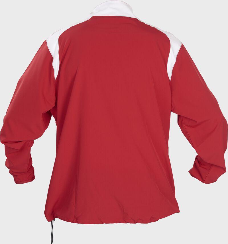 Back of Rawlings Scarlet Adult Long Sleeve Quarter-Zip Jacket - SKU #FORCEJ-B-88