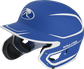 Left angle view of a MACHEXTR Rawlings Mach EXT Junior helmet with a two-tone matte royal/white shell image number null